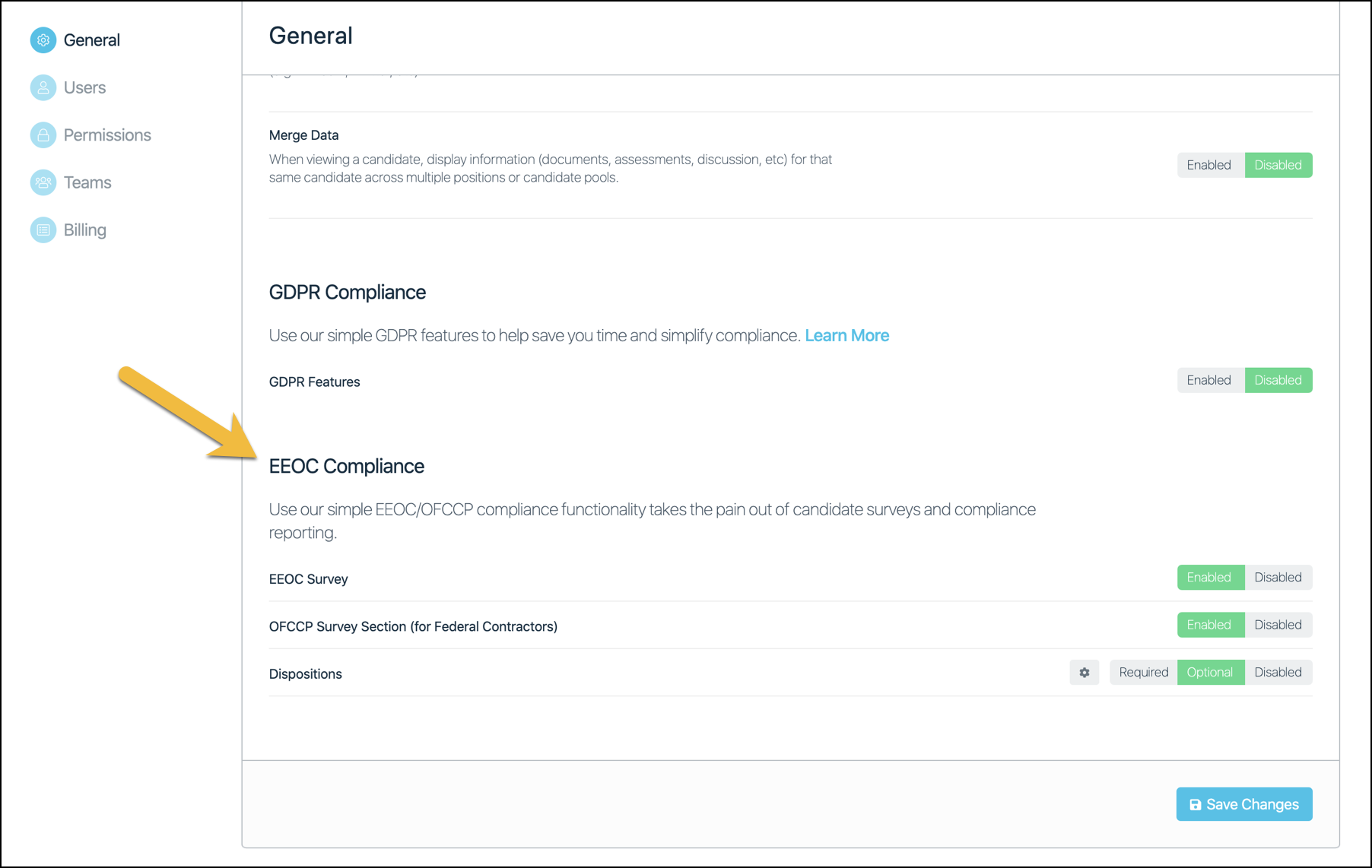 Enabling compliance features in Company Settings